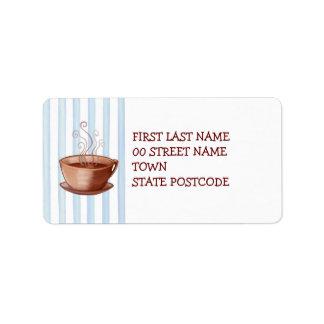 Etiqueta de dirección de la taza de café