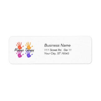 Etiqueta de dirección de la terapia del masaje