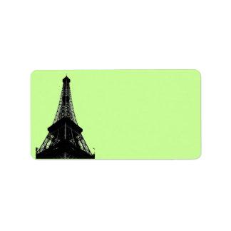 Etiqueta de dirección de la torre Eiffel