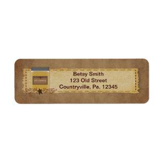 Etiqueta de dirección de la vela del tarro