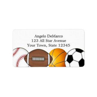 Etiqueta de dirección de las bolas de los deportes