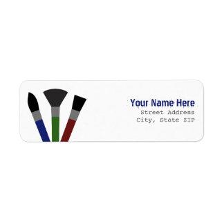 Etiqueta de dirección de las brochas