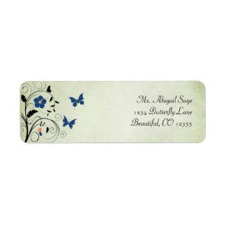 Etiqueta de dirección de las flores y de las marip