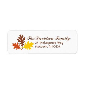 Etiqueta de dirección de las hojas de otoño