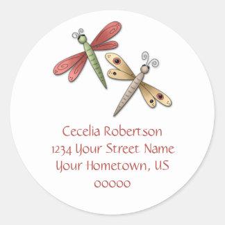 Etiqueta de dirección de las libélulas