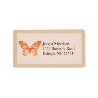Etiqueta de dirección de las mariposas del vintage