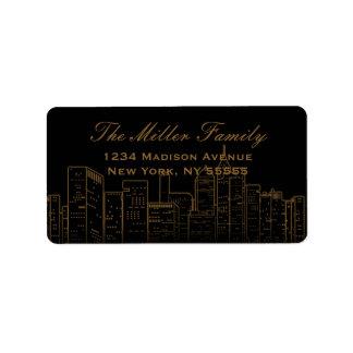Etiqueta de dirección de las noches de Nueva York