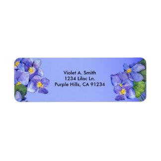 Etiqueta de dirección de las violetas