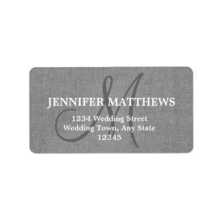 Etiqueta de dirección de lino gris de la tarjeta d