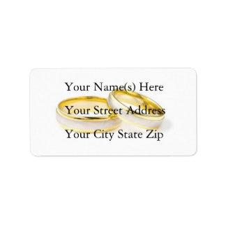 Etiqueta de dirección de los anillos de bodas