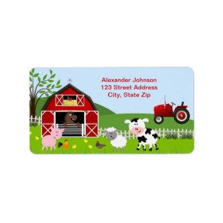 Etiqueta de dirección de los animales del campo de