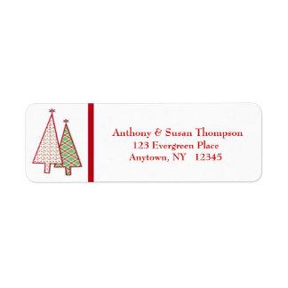 Etiqueta de dirección de los árboles de navidad de