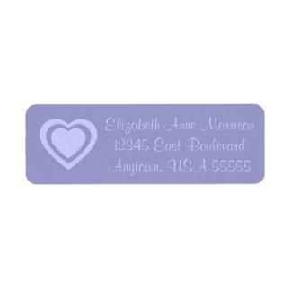 Etiqueta de dirección de los corazones de la