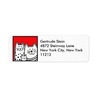 Etiqueta de dirección de los gatitos
