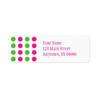 Etiqueta de dirección de los lunares (rosa/verde)