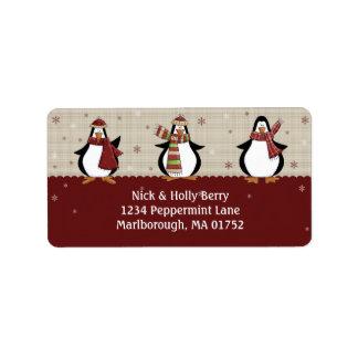Etiqueta de dirección de los pingüinos del día de