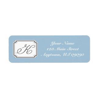 Etiqueta de dirección de lujo de K Mongram (azul)