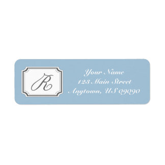 Etiqueta de dirección de lujo de R Mongram (azul)