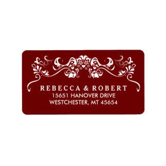 Etiqueta de dirección de lujo roja y blanca marrón