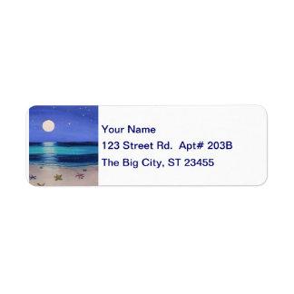 Etiqueta de dirección de medianoche de la playa