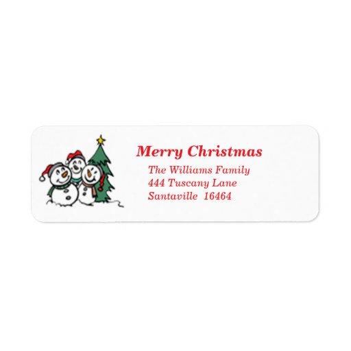 Etiqueta de dirección de Navidad de los muñecos de