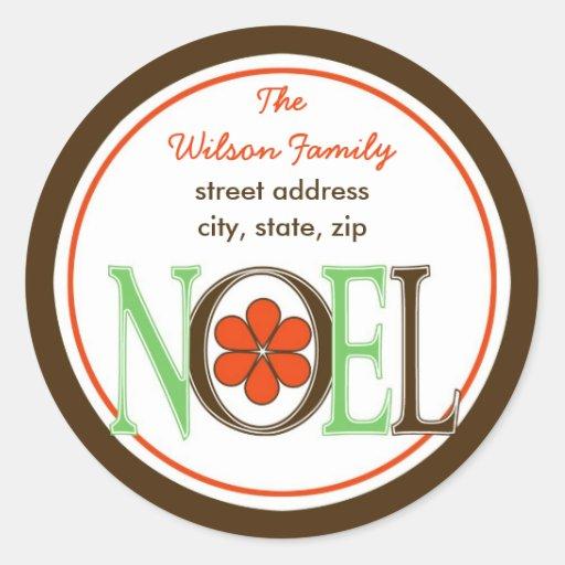 Etiqueta de dirección de NOEL del verde y de Brown