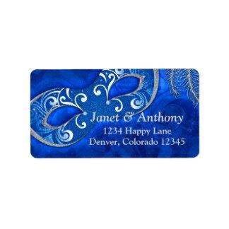 Etiqueta de dirección de plata azul del boda de la