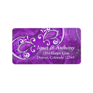 Etiqueta de dirección de plata púrpura del boda de