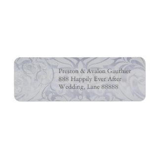Etiqueta de dirección de plata rococó del damasco
