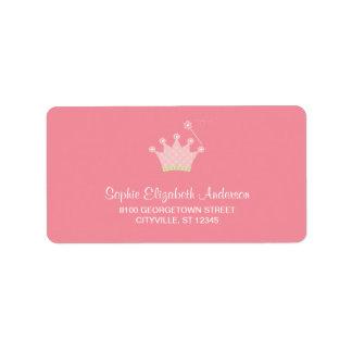 Etiqueta de dirección de princesa Crown Kids