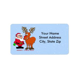 Etiqueta de dirección de Santa y de Rudolph
