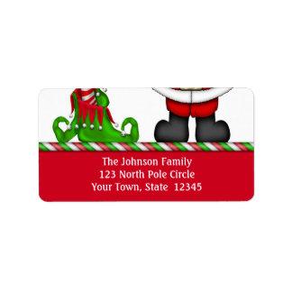 Etiqueta de dirección de Santa y del duende