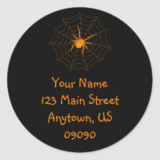 Etiqueta de dirección de Spiderweb (naranja/negro)