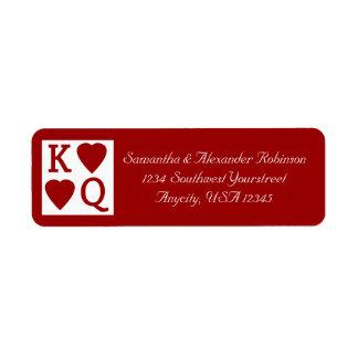 Etiqueta de dirección de Vegas del naipe del rey y