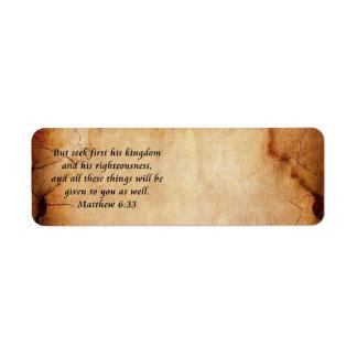 Etiqueta de dirección del 6:33 de Matthew