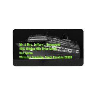 Etiqueta de dirección del barco de cruceros