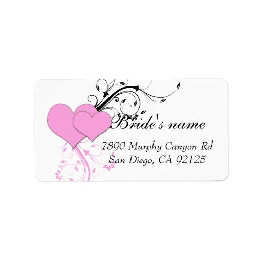 Etiqueta de dirección del boda