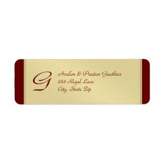 Etiqueta de dirección del boda de Borgoña del meta