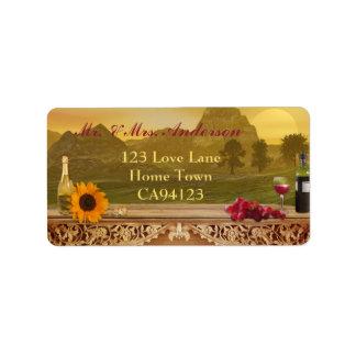 Etiqueta de dirección del boda de la caída del viñ