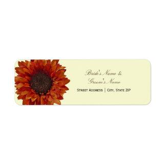Etiqueta de dirección del boda de la caída - giras