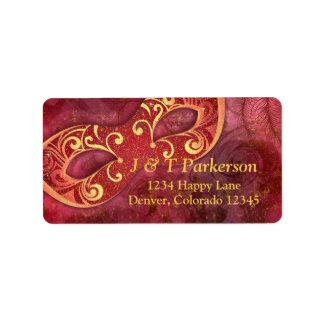 Etiqueta de dirección del boda de la mascarada del