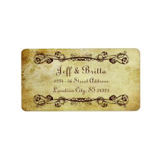 Etiqueta de dirección del boda de Steampunk del