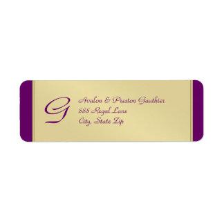 Etiqueta de dirección del boda del ciruelo del met