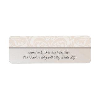 Etiqueta de dirección del boda del damasco del met
