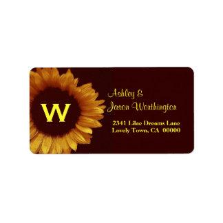 Etiqueta de dirección del boda del girasol del oro