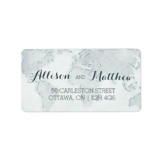 Etiqueta de dirección del boda del mapa de la