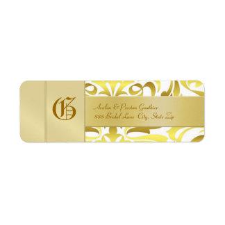 Etiqueta de dirección del boda del oro del monogra