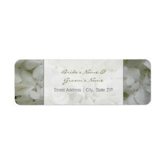 Etiqueta de dirección del boda - flores blancas