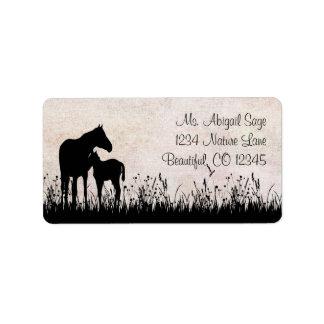Etiqueta de dirección del caballo de la yegua y de