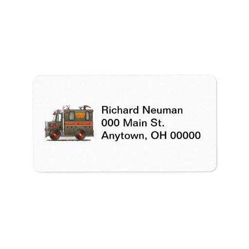 Etiqueta de dirección del camión de la seguridad